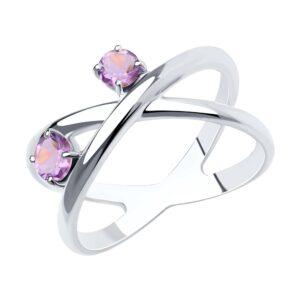 кольцо с аметистами 2 штуки