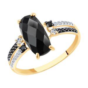 Кольцо из золота с чёрным агатом и чёрными фианитами