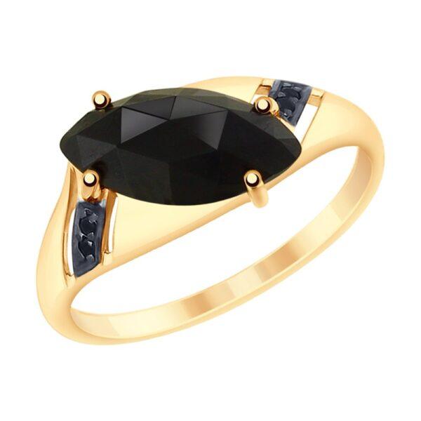 Кольцо из золота с чёрным агатом и фианитами Артикул: 715204
