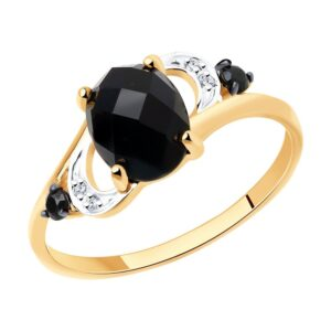 Кольцо из золота с чёрным агатом и бесцветными и чёрными фианитами