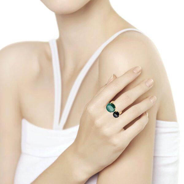Кольцо из золочёного серебра с агатом и малахитом