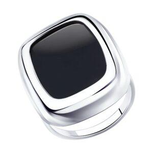 Кольцо из серебра с родированием с агатом