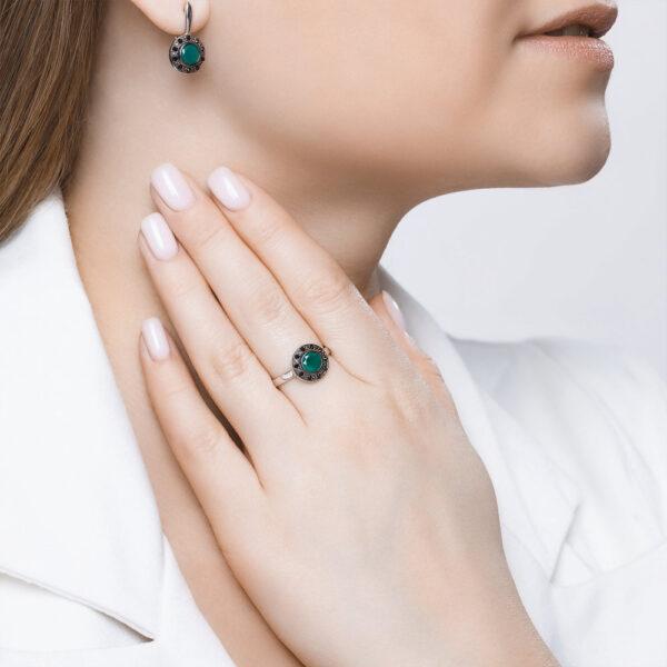 кольцо серебро с зеленым агатом