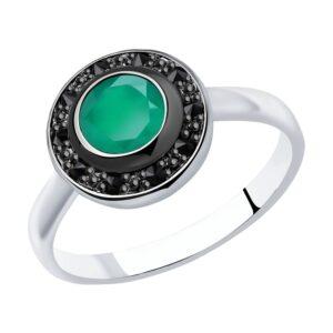 Кольцо из серебра с агатом и марказитами