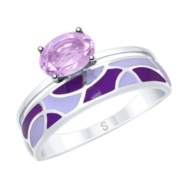 кольцо в серебре с аметистом и эмалью