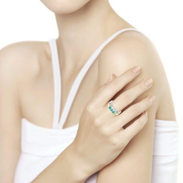 Кольцо из золочёного серебра с золочением и родированием с агатами на пальце фото