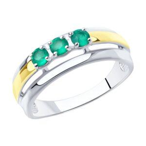 Кольцо из золочёного серебра с золочением и родированием с агатами