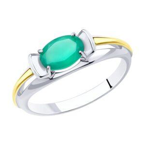 Кольцо из золочёного серебра с родированием и золочением с агатом