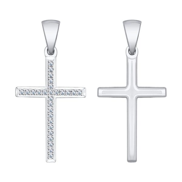 подвеска крестик из белого золота с бриллиантами
