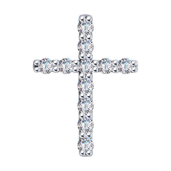 подвеска крест из белого золота с бриллиантом