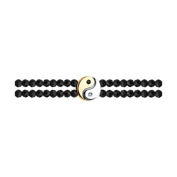 браслет из золота с черным и бесцветным бриллиантом