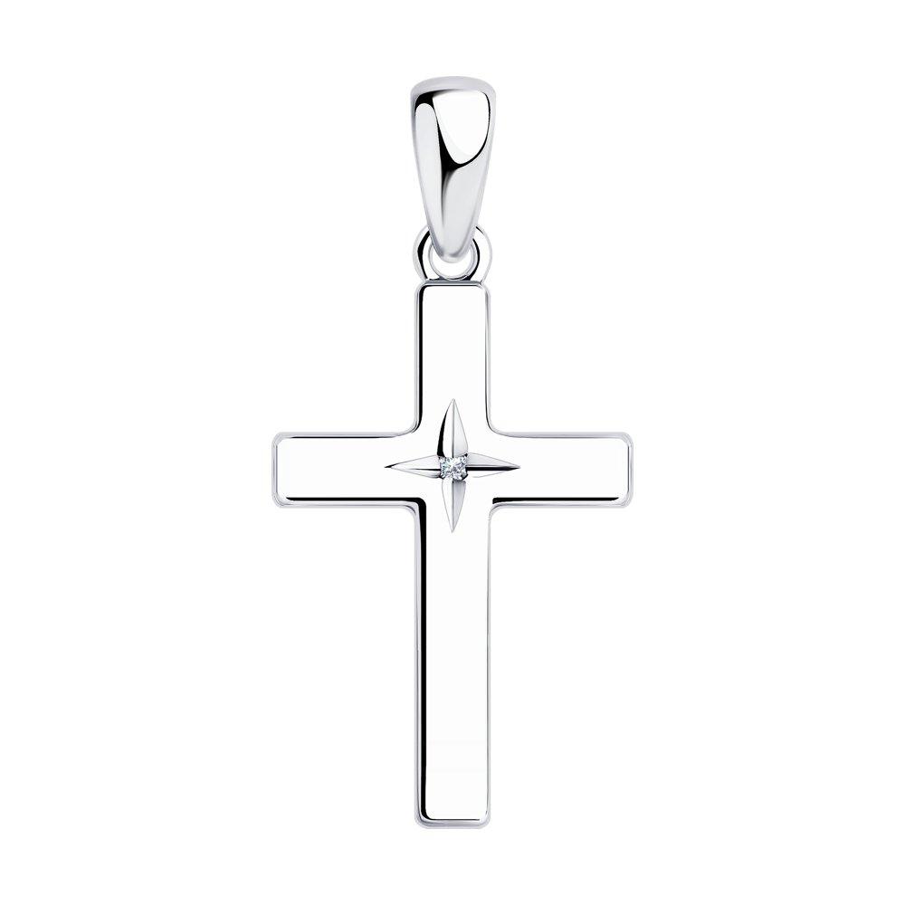 подвеска крестик из серебра с бриллиантом