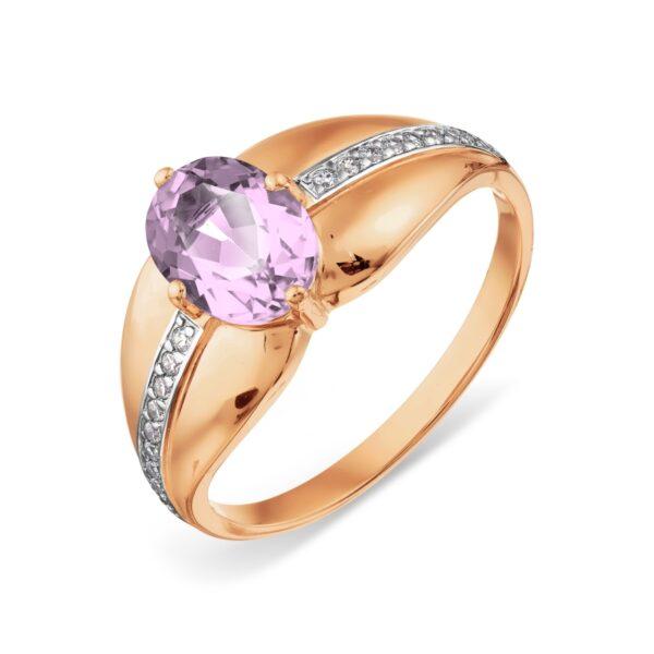 кольцо с аметистом золотое