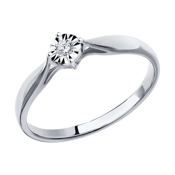 кольцо помолвочное из белого золота с бриллиантом