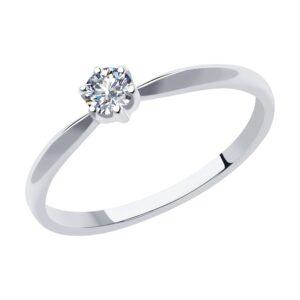 кольцо из белого золота помолвочное