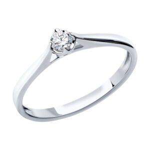 Помолвочное кольцо из белого золота 585